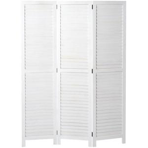 MCW Paravent MCW-C30-3, Fensterladenoptik, 3 Paneele, Vielseitig verwendbar, Optische Vergrößerung des vorhandenen Raums weiß
