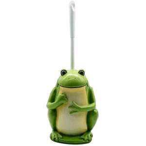Frosch-Toilettenbürste Und Halter, Neuheit-Toilettenbürstenhalter, Umweltfreundliches Harzmaterial, Höhe 38,2 Cm, Breite 14 Cm, Grün