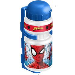 Trinkflasche Spiderman mit Halter, 350 ml blau