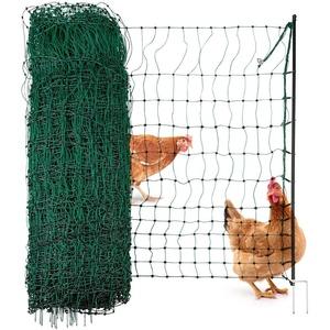 Agrarzone Geflügelnetz Geflügelzaun ohne Strom grün 25m x 106cm   Hühnerzaun mit Doppelspitze & Pfähle   geringe Maschenweite & extrem standfest   Hühnernetz Weidezaun für sichere Geflügelhaltung
