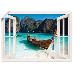 Artland Wandbild Fensterblick Maya Bay Koh Phi Phi Leh, Fensterblick (1 Stück) 70 cm x 50 cm x 0,1 cm