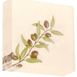 "Airlaid Motivservietten ""Mediterannea"", 40 x 40 cm, 1/4 Falz, 1 Karton = 16 x 50 = 800 Stück, Farbe: olive"