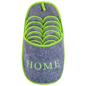 ONVAYA ABS Gästepantoffel Home greygreen, Grün Grau, 6er Set, Antirutsch, Hausschuhe, Pantoffel Pantoffel