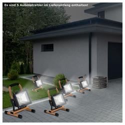etc-shop Baustrahler, 5er Set LED Bau Außen Strahler Fluter 1,5m Kabel 20 Watt Baustelle Arbeits Bereich