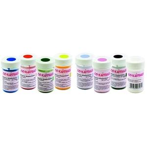coximus Puderfarbe, gelb / rot / grün / blau, 4er Pack (4 x 3 g) & farbe, pink / violett / schwarz / weiß, 4er Pack (4 x 3g)