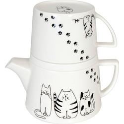 Könitz Teekanne Tea for me - Funny cats, 0,65 l, (Set), Tekanne+Becher+Deckel/ Ablageschale, New Bone China-Porzellan