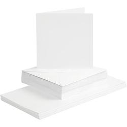 15 cm x 15 cm Karten/Umschläge - Weiß - 50 Sets