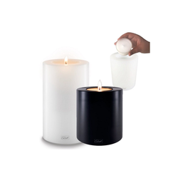 Qult Teelichthalter Qult Teelicht-Halter Trend 10cm Dauerkerze Kunststoff-Kerze Teelichtkerze in schwarz und weiss schwarz 15 cm