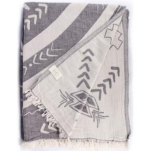 Bersuse 100% Baumwolle - Kona XXL Strandtuch Sofa-Überwurf - Mandala - 190 x 230 cm, Anthrazit