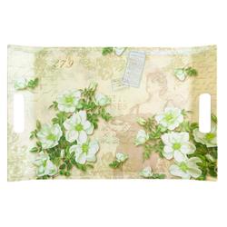 Lashuma Tablett Gardenien, Melamin, Küchentablett mit Griffen, Geschirrtablett bedruckt grün 54 cm x 35 cm x 3 cm