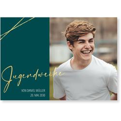 Einladungskarten Jugendweihe (10 Karten) selbst gestalten, Goldene Jugendweihe - Grün