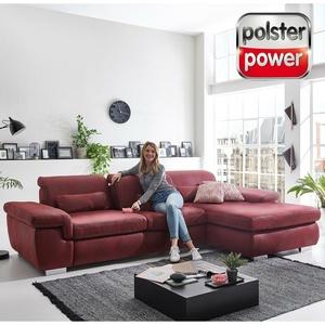 polsterpower Ecksofa - rot - mit Sitztiefenverstellung