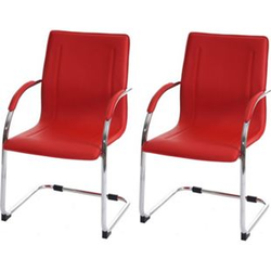 2x Konferenzstuhl Perm, Besucherstuhl Freischwinger, PVC ~ rot