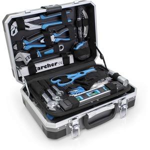 KARCHER Werkzeugkoffer 114-teiliges Tool-Set I Werkzeugset aus Chrom Vanadium & Karbonstahl mit Hammer, Schraubendreher, Steckschlüssel, Bitsatz uvm. I Praktischer Koffer für Werkzeug