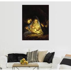 Posterlounge Wandbild, Maria mit dem Christkind, über die Krippe gebeugt 70 cm x 90 cm