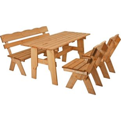 Holz Sitzgruppe Rustikal Biertischgarnitur Kiefer massiv Gastronomie Gartenmöbel