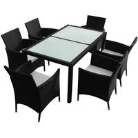 vidaXL Polyrattan Set 13-tlg. Tisch 150 x 90 cm schwarz