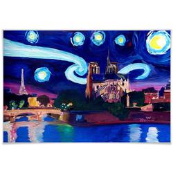 Wall-Art Poster Van Gogh Stil Stadt Paris bei Nacht, Stadt (1 Stück), Poster, Wandbild, Bild, Wandposter 90 cm x 60 cm x 0,1 cm