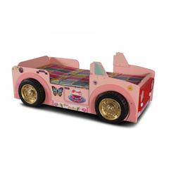 Trebela Kinderbett Kinderautobett Jeepi pink mit Matratze 90x190 cm und LED