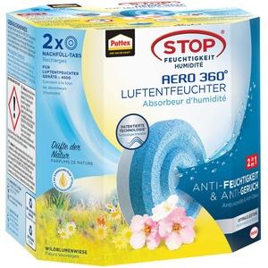 Pattex AERO 360° Wildblumenwiese Tabs Nachfüllpack, reduzieren Feuchtigkeit und schlechte Gerüche, Nachfülltabs für den Luftentfeuchter AERO 360°, 2er-Pack (2x450g)