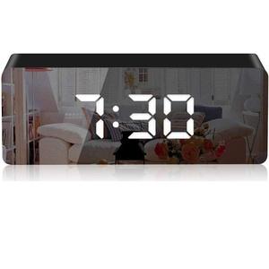 KKshop Mirror Digitaler Wecker, Lange Nachtwecker für Tischplatte, LED Digitaluhr Tischuhr 3 Zoll großen LED-Anzeige Spiegel Tischuhr mit Schlummerfunktion