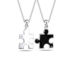 Elli Ketten-Set Partnerketten Puzzle Zirkonia 925 Sterling Silber schwarz