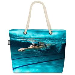 VOID Strandtasche (1-tlg), Schwimmerin Athletin Beach Bag Sport Schwimmen Schwimmbad Urlaub Pool Schwimmen