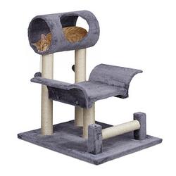 relaxdays Kratzbaum mit Katzenspielzeug   grau 56,5 x 61,0 x 69,0 cm