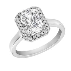 Halo Verlobungsring mit Diamant im Smaragdschliff Valma