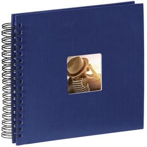 Hama Fotoalbum 28x24 cm (Spiral-Album mit 50 schwarzen Seiten, Fotobuch mit Pergamin-Trennblättern, Album zum Einkleben und Selbstgestalten) blau