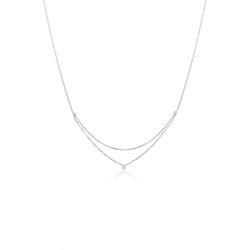 Elli Kette mit Anhänger Erbskette Layer Kristalle 925 Silber, Kristall Kette silberfarben