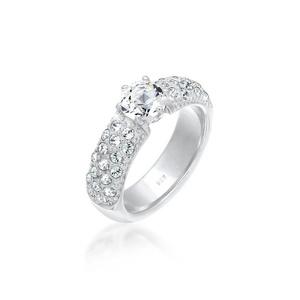 Elli Fingerring Verlobungsring Swarovski® Kristalle 925 Silber silberfarben 52 mm