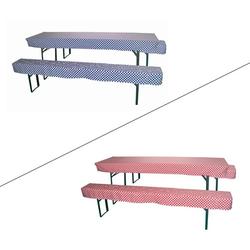 2x Hussen / Sitzpolster + 1x Tischdecke Set für Bierzeltgarnitur -Farbwahl-, Farbe: rot / weiß