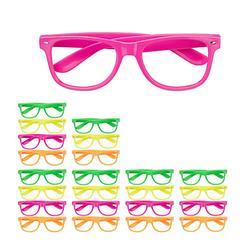 24x Partybrille Bunt, Faschingsbrille Lustige Brillen 4 Farben Neon Spassbrillen mehrfarbig