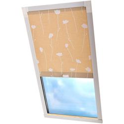 Dachfensterrollo Dekor, Liedeco, Lichtschutz, in Führungsschienen, Dachfensterrollo Dekor braun 60 cm x 130 cm