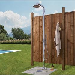 Freistehende Gartendusche mit Handdusche und Regenduschkopf Chrom - Seville, von Hudson Reed