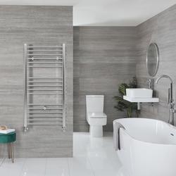 Wand Waschbecken mit Handtuchhalter eckig, Weiß, Größe wählbar - Sandford, von Hudson Reed