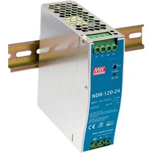 MW NDR-120-24 - Schaltnetzteil, Hutschiene, 120 W, 24 V, 5 A