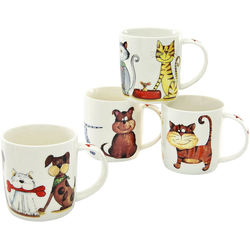 CreaTable Becher Cats & Dogs (4-tlg), New Bone China, lustige Vierbeiner als Motiv