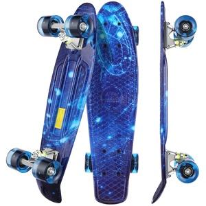 """WeSkate Mini Cruiser Skateboard Komplettboard Retro 22""""55cm Vintage Skateboard mit Kunststoffrand Cruiser Deck mit PU Rad Flash Lager ABEC-7für Erwachsene Kinder Jungen Mädchen"""