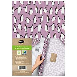 Geschenkpapier Set Weihnachten: Pinguine (lila  weiß) für Kinder