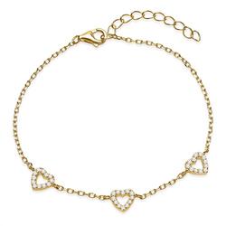 Filigranes Armband vergoldet 925er silber Herzen