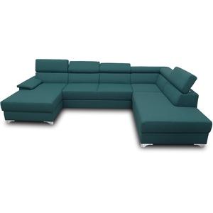 DOMO. collection Niria Wohnlandschaft   Eckcouch mit Schlaffunktion & Rückenfunktion   Sofa U Form Couch, großes Schlafsofa, grün/Petrol, 167x337x230 cm