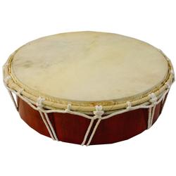 Guru-Shop Spielzeug-Musikinstrument Flache Holztrommel, Percussion Rhythmus Klang.. 26 cm x 7 cm x 26 cm