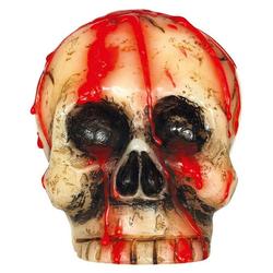 Horror-Shop Kerzenständer Blutige Totenkopf Kerze als Halloween Deko 10cm beige