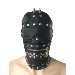 Leder Kopfmaske schwarz mit Spikes