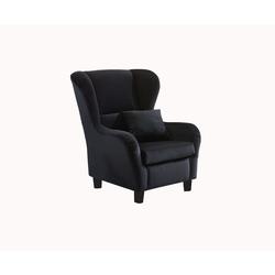 Sessel, Ohrensessel mit Zierkissen in schwarzem Samt bezogen, Füße schwarz, Maße : B/H/T ca. 90/98/76 cm