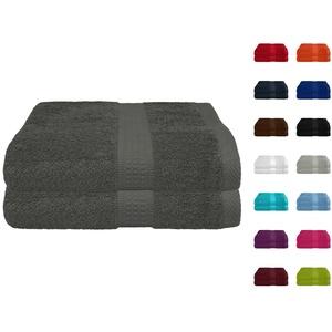 2er Pack Frottier Saunatuch, Saunatücher Set 80x200 cm 100% Baumwolle in 15 modernen Farben Anthrazit