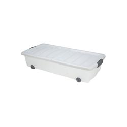 BigDean Unterbettkommode Weiß 40l Rollbox Räder Unterbettbox Spielzeugkiste