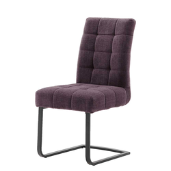 Freischwinger Sessel in Violett hoher Lehne (2er Set)